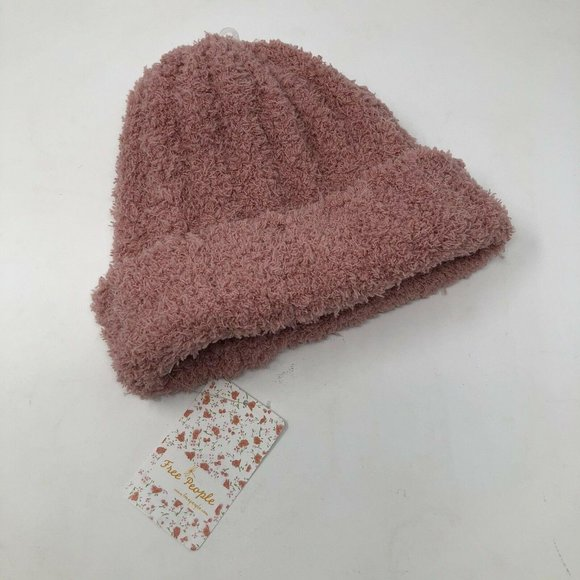 Free People Beanie Hat Ribbed Soft Blush Pink